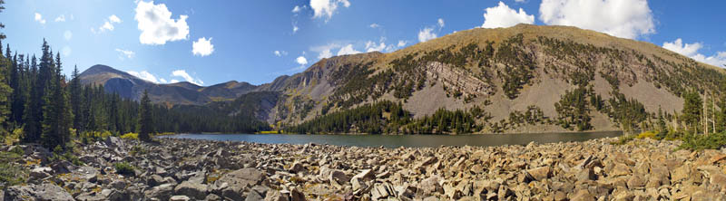 Panoramic of the lower lake. Many excellent campsites all around the lake.